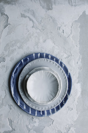 Blue and white stripes Plate + Textured white satin Plates