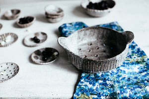 Rustic berry bowls by clay beehive