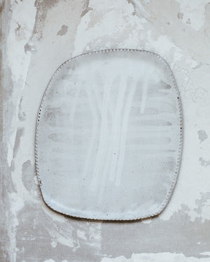 Drippy White Platter by clay beehive