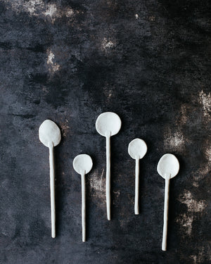White Gritty spoons with an elegant design