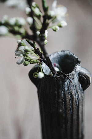 rustic handled vase hand made by clay beehive ceramics