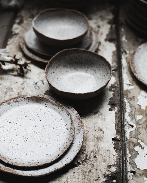 rustic gritty speckled plate and bowl set handmade by clay beehive ceramics