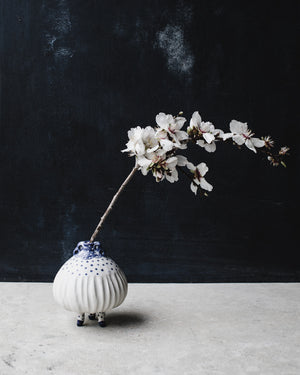 handmade ceramic bud vases blue and white wheelthrown by clay beehive ceramics