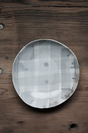 Grey & White bowls with check drippy pattern