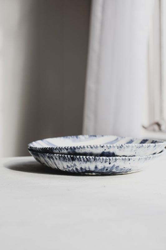 Nautical blue and white stripe wide bowls by clay beehive ceramics