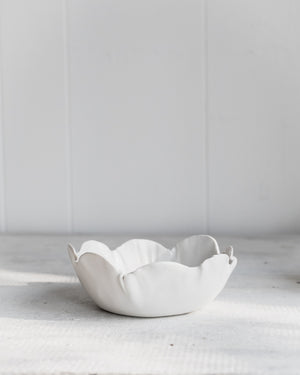 Petal bowls with satin white glaze