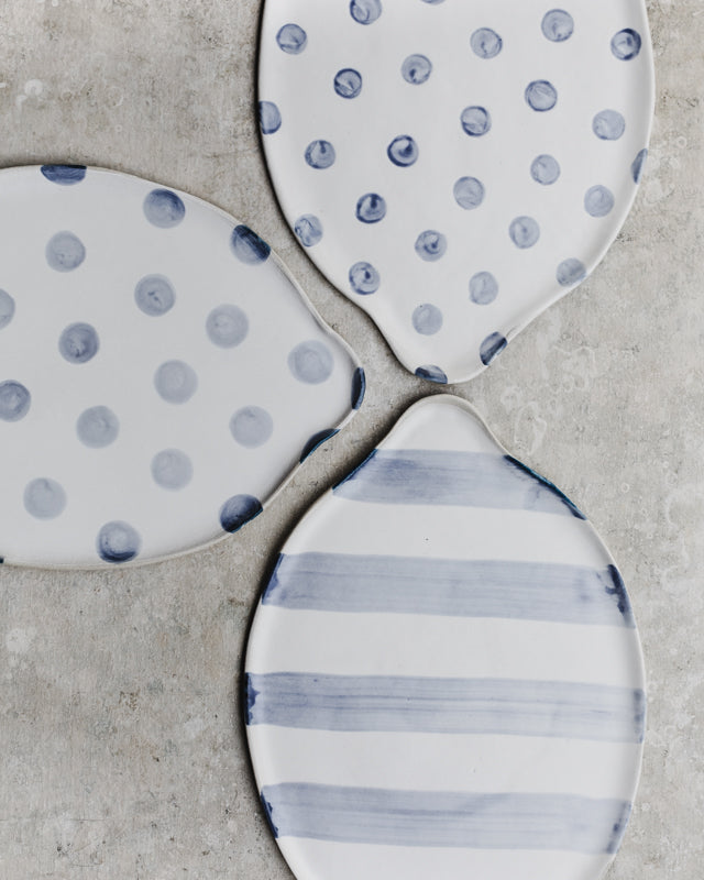 Large Polka dot & Stripes Platters with side handles  (Larger 42-44cm Length)