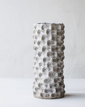 Large rustic speckled white pinched vase