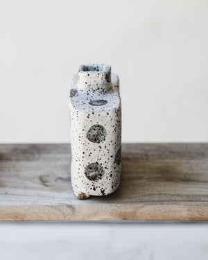 Rustic speckled polka dot small footed rectangular vase
