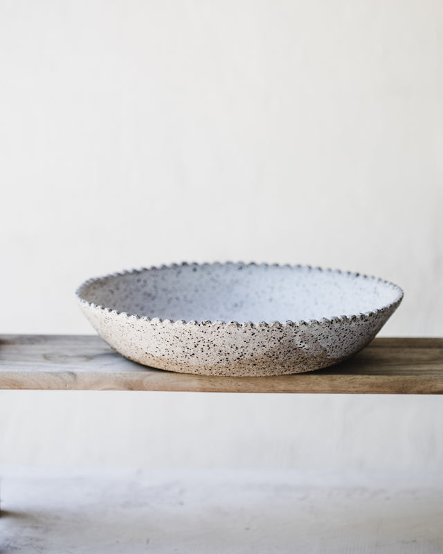 large scallop rim serving bowl by clay beehive ceramics