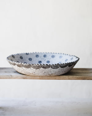large scallop rim serving bowls with polka dots by clay beehive ceramics