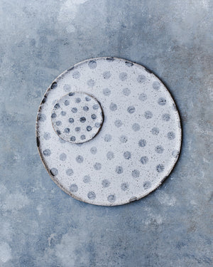 Large 34cm ceramic platter with speckled spots by clay beehive ceramics