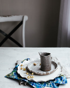 clay beehive ceramics petal plates and gritty pourer
