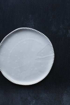 Satin White Plate with detailed edging