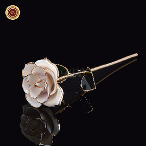 24k Gold Stem Pearl White Rose
