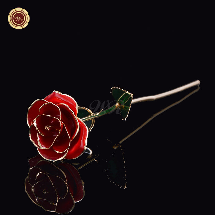 24K Gold Stem Ruby Red Rose