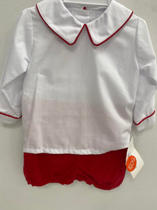 Red Corduroy Baby Short Set