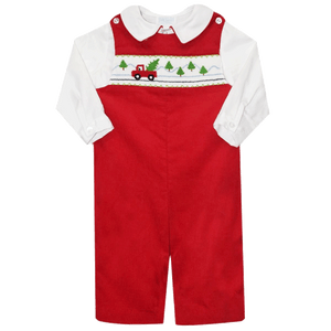 Smocked Longall Truck and Tree Scene Betti Terrell Holiday jon jon boy classic boutique clothing