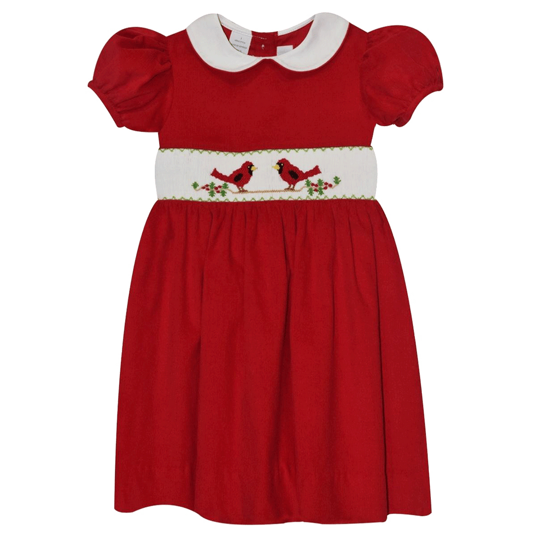Smocked Cardinal Peter Pan Corduroy Dress Betti Terrell Holiday dresses childrens classic clothing boutique