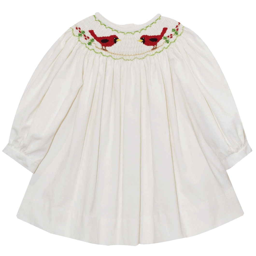 smocked cardinal dress 1z 2z 3z white corduroy holiday and christmas outfit baby toddler classic clothing boutique