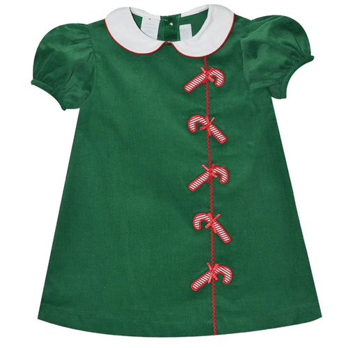 Candy Cane Green Corduroy Holiday Christmas Dress By Betti Terrell Shop classic childrens clothing boutique