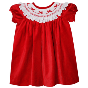 Simi 1z2z3z Red velvet smocked bow dress holiday and christmas occasion wear for baby toddler children classic boutique clothing