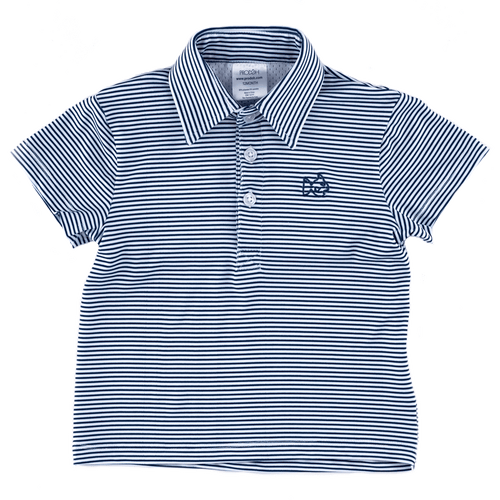 Navy and White Stripe Performance Polo