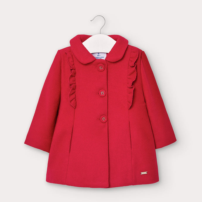 Red Ruffle Peacoat