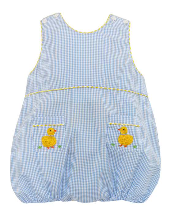 Duck Embroidered Boy Bubble with Blue Check