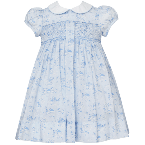 Lindsey Dress with Collar in Blue with Pleat