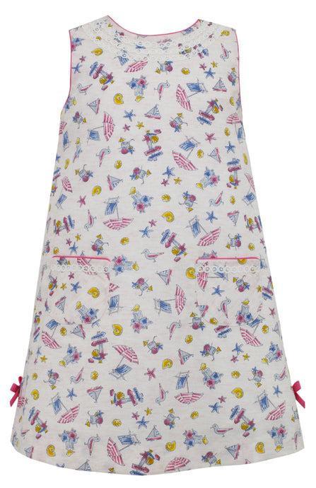 A-Line Dress with Side Bows and Pockets in Summer Print