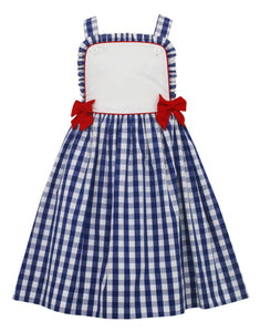Strappy Navy Check Bib Dress with Red Bows