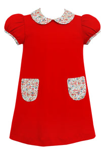 Red Float Knit Dress with Floral Collar and Pockets