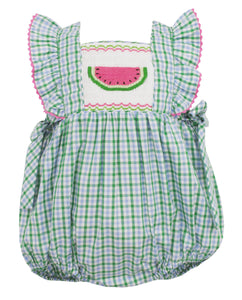 Watermelon Bubble with Side Bows in Green Check