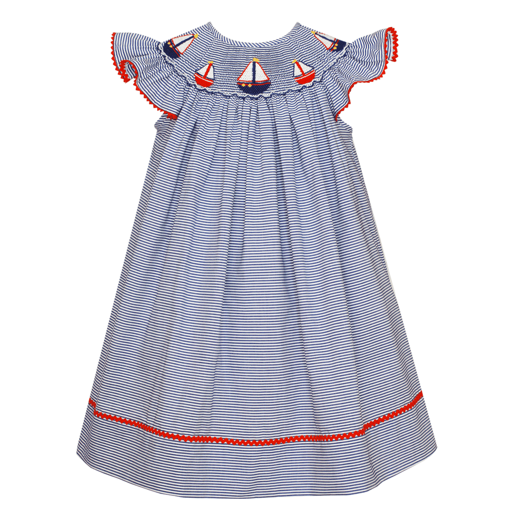 Nautical Angel Wing Bishop Dress with Navy Stripe