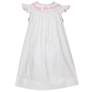 Bishop Birthday Dress with Multi Color Dots