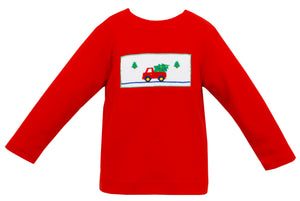 Boy Smocked T-Shirt with Pick Up and Christmas Tree