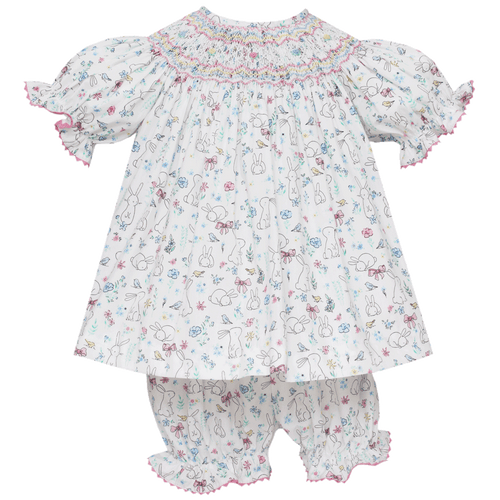 Bunny Floral Embroidered Bloomer Set