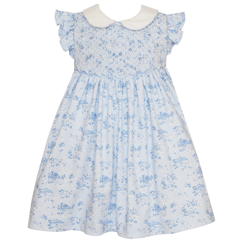 petit bebe 1z 2z 3z toile french soft print smocked dress peter pan collar flutter sleeve