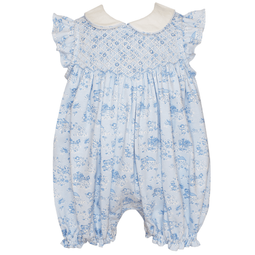 petit bebe toile french print bubble hand smocking peter pan collar baby girl boutique soft clothing baby gift