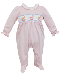 Rocking Horse Light Pink Smocked Footie