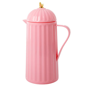 Pink Thermos with Gold Bird on Lid