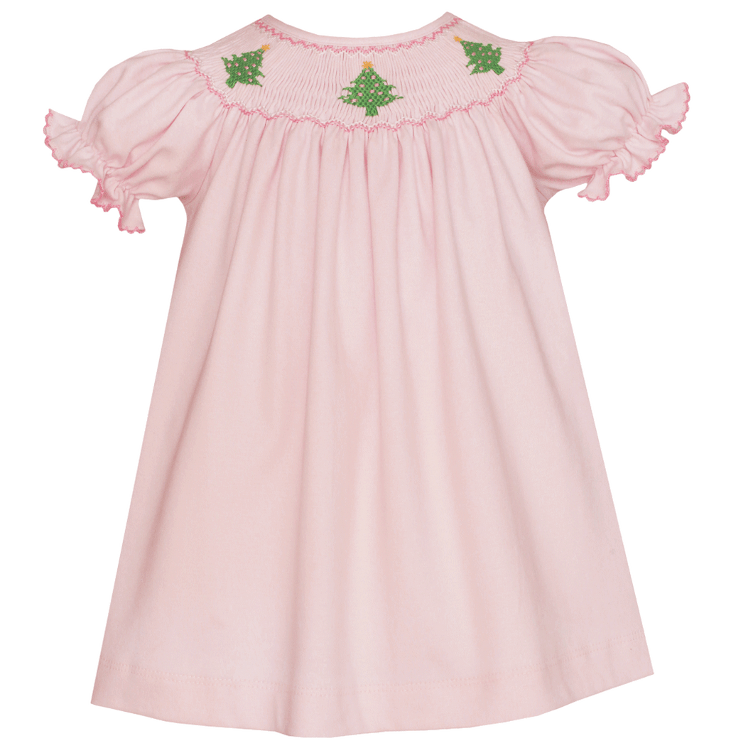 Hand Smocked Christmas Tree Bishop Dress by petite Bebe classic baby clothing boutique