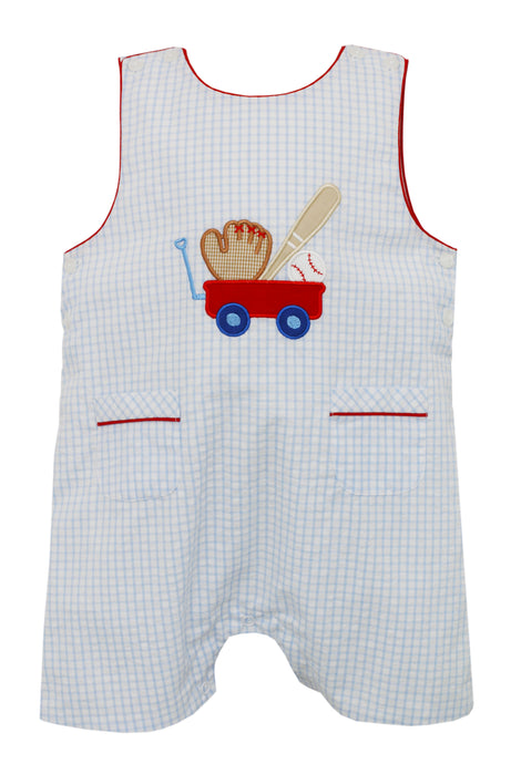 Baseball Applique Jon Jon in Blue Check