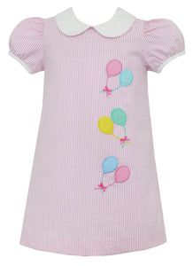 Balloon Birthday Dress in Pink Stripe
