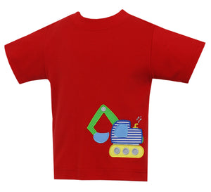 Excavator Applique Red T-Shirt