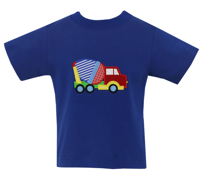 Cement Mixer Truck Applique Blue Shirt
