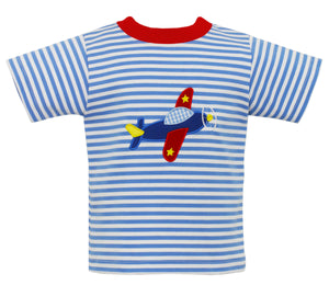 Airplane Applique Blue Striped T-Shirt