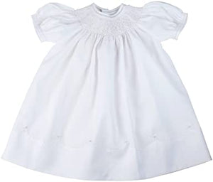 White Smocked Bishop Dress with Pearls