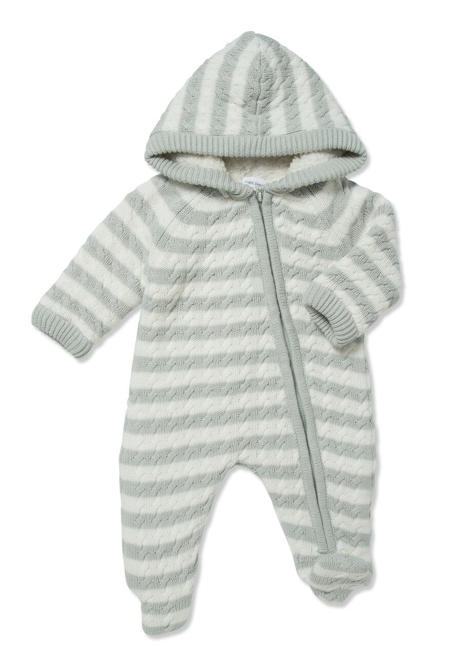 Sherpa Cable Knit Footie with Hood
